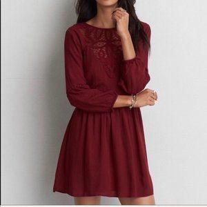 Burgundy peasant dress long sleeves